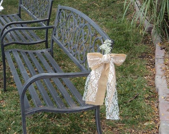 Burlap Lace Bow SET OF 10 or 12,  Burlap and Lace Wedding Chair Bows, Rustic/Country/Barn Wedding Decor, Rustic Burlap Bows