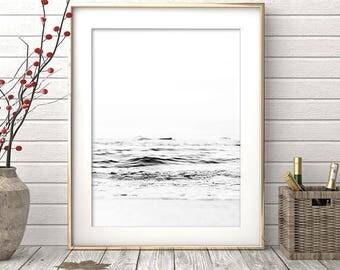 Ocean Print, Minimalist, Black and White Print, Ocean Photography, Ocean Wall Art, Ocean Wall Print, Ocean Poster, Ocean Photo, Circle Photo