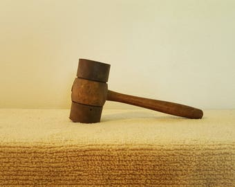 Vintage Wooden Mallet with Thick Metal Banding
