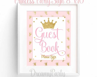 Princess Baby Shower Sign, Guest Book Sign, Pink And Gold Shower, Baby  Shower