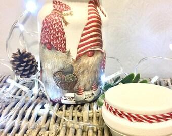 christmas gnome, christmas sweet jar, christmas gonk, xmas, food container, decorative, keepsake, festive, decoration, gift, recycled,