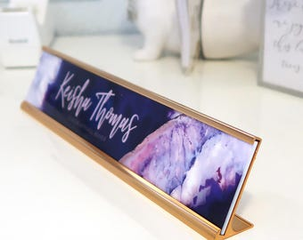 "Custom Agate Nameplate ""Keisha"" - Personalized Desk Name Plate Sign Decor - Office Accessories - Purple Cubicle Decoration Decor Violet"