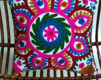 Indian Embroidered Cushion covers, hand made suzani cushion covers, Turkish decor, colorful pillow cases, home decor