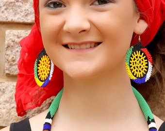 African round yellow centered Earrings