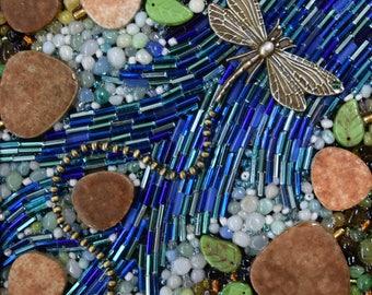 Beaded Dragonfly Mosaic - Mixed Media Mosaic - blue dragonfly mosaic ~ Mosaic wall art ~ Dragonfly gift