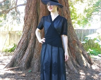 1930s 1940s Black Sheer Mesh Wrap Dress with Floral Appliqué // small