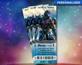 Transformers Birthday Invitation Ticket - Transformers Invitation - Transformers Movie Ticket Invitation (Digital File Download)