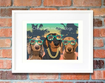 Dachshund gifts Sausage dog gift ideas Miniature dachshund funny wall art print Gangster dog gift-for-man Bff-gift Hot dogs gift-for-brother