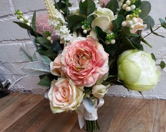 Custom Made Artificial Pink and Cream Wedding Bouquet Featuring Roses, Peonies, Ranunculus, Snowberries