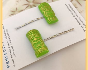 Tiki Oasis polymer clay Tiki Mask Pinup Bobby Pins in Lime Green and Gold