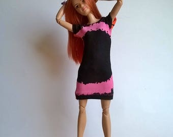Color blocking Barbie dress in black / pink / orange