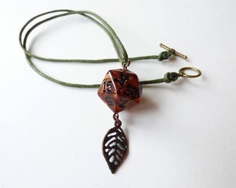 Ent - Dungeons and Dragons D20, Necklace, Pendant, red, gold, black, RPG, D&D, Jewellery, Dice, wood, dnd, druid, forest, tree