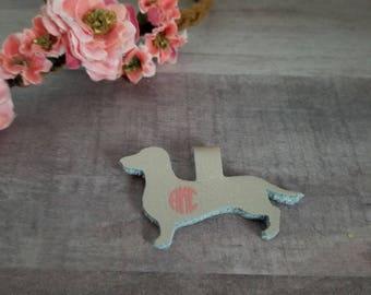 Rose Gold Genuine Leather Dachshund Pendant with Monogram, Leather Dachshund Wiener Dog Necklace Pendant, Personalized Dachshund Pendant