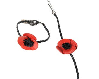 Full grain cowhide leather and braided leather poppy flower bracelet