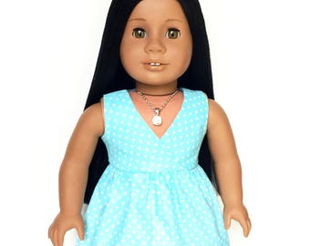 Doll Dress, Wrap Top, Polka Dot, Turquoise Blue, White, Summer, American, 18 inch Doll Clothes