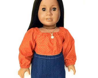 Crop Peasant Top, Long Sleeve, Polka Dot, Orange, Gold, Fall, American, 18 inch Doll Clothes