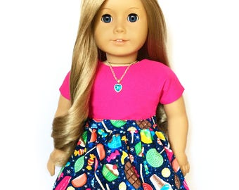 Flare Skirt, Candy, Royal Blue, Pink, Turquoise Blue, Yellow, Fits dolls such as American Girl, 18 inch Doll Clothes