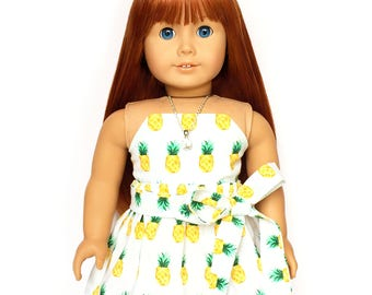 Flare Skirt, Sash Belt, Pineapple White, Yellow, Green, Fruit, Fits dolls such as American Girl, 18 inch Doll Clothes, Mix and Match