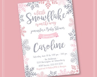 Snowflake Baby Shower Invitation, Winter Wonderland Baby Shower Invitation,  Girl Snowflake Baby Shower,