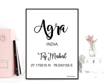 GPS Taj Mahal coordinates, GPS art print, Latitude longitude printable, Wall decor, Typography quote, Black & white poster, Printable wall