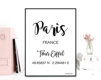GPS Paris coordinates, GPS art print, Latitude longitude printable art, Wall decor, Typography quote, Black & white poster, Printable wall