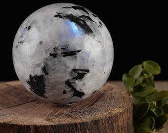 Extra Large MOONSTONE Sphere with Stand - Moonstone Crystal Sphere, Stone Sphere, Meditation Stone, Polished Stone, Healing Stone E0372