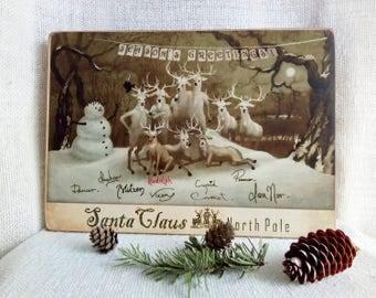 Vintage Christmas Reindeer figurines, Reindeer sign, Winter Greetings sign, Reindeer Christmas decorations, Rudolf reindeer, Retro Christmas