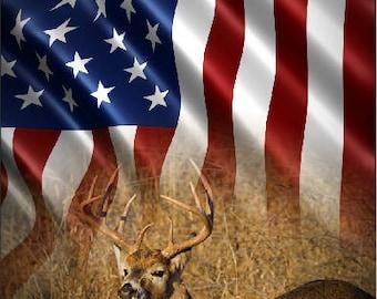 Buck Deer In Grass Flag LAMINATED Cornhole Wrap Bag Toss Decal Baggo Skin Sticker Wraps