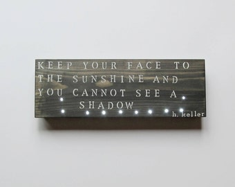 wood wall light helen keller quote inspirational wall art custom wood signs - Custom Signs For Home Decor