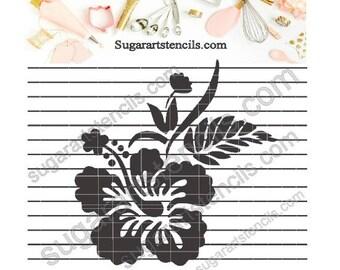 Hibiscus tropical flower Hawaiian cookie stencil Nb1590