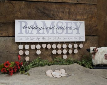 Personalized Family Birthday Calendar, Custom Family Calendar wood discs,  Monthly Calendar Family Events Celebrations Calendar Rustic Style