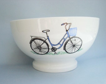 Hand painted Bowl with a blue bike and her basket, personalized with name