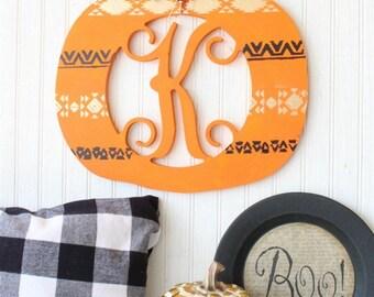Pumpkin Monogram, Pumpkin Decor, personalized pumpkin, Farmhouse pumpkin, monogram pumpkin
