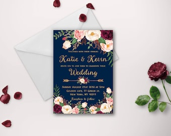 Wedding invitation, wedding invitations, printable invitation, wedding invite, invitation template, navy gold marsala wedding invites diy
