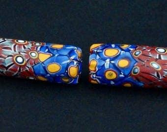 V65-   2 rare millefiori beads