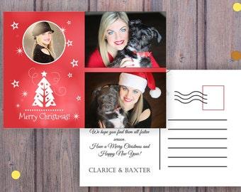 Christmas Postcard with photos, Postcard Printable, Greeting Season Postcard, Greeting Cards, Christmas Card, Printable