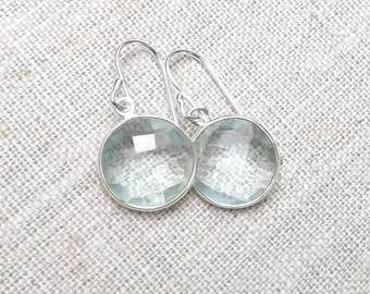 SALE 40% OFF Aqua Quartz pale blue earrings / Sterling silver Aqua Quartz round dangles / Faceted pale blue gemstone earrings