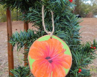 Hibiscus Hand painted wood slice ornament