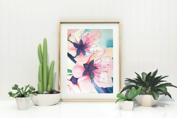 Cherry blossoms, original watercolor, ooak, baby shower gift idea, wall art, home office decoration, bedroom art, living room decore.