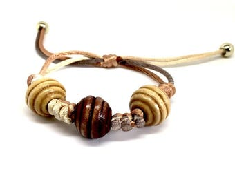 Birthday Gifts for Girls, Jewellery for Women, Brown wooden Bracelet with adjustable closure - FREE Luxurious gift box. Gift under 15 pounds