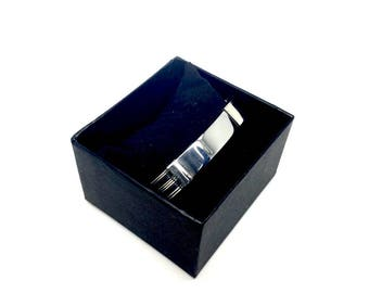 Italian Men's Jewellery Solid Stainless Steel Bracelet with Black & Silver Design - gift box included. Birthday gifts for men. Naked Nation