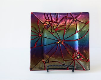 Decorative Fused Glass Square Plate with Iridescent Crackle Design, Wire Stand Not Included