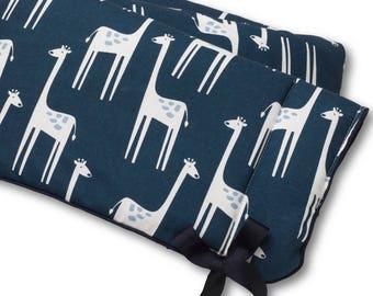 Navy Giraffe Crib Rail Cover | Bumperless Crib Bedding | Giraffe Nursery | Giraffe Baby Bedding | Navy Nursery | Navy Crib Rail Cover