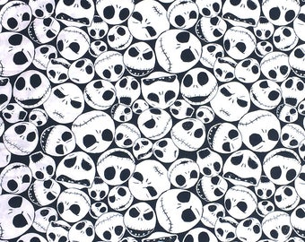 """NEW Disney Fabric, Jack Packed Fabric, The Nightmare Before Christmas, Jack Faces in White by Camelot 100% cotton Fabric by the yard 36""""x44"""""""