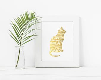 Cat lover gift, Animal lover gift, Animal Prints, Cat Print, Cat Print Art, Gift for Cat Lover, Gift for Cat Owner, Gift for Catlover, Cat
