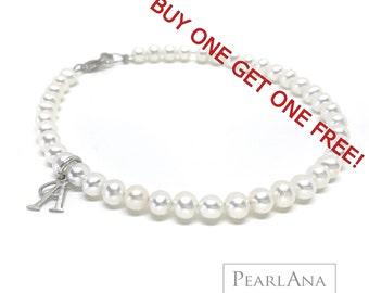 White pearl stacking bracelet