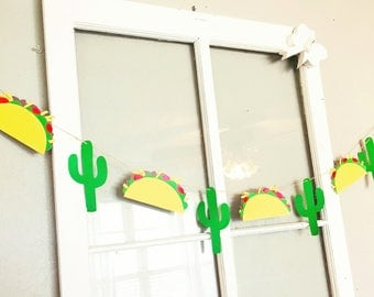Taco Bout A Party Taco and Cactus Garland Banner
