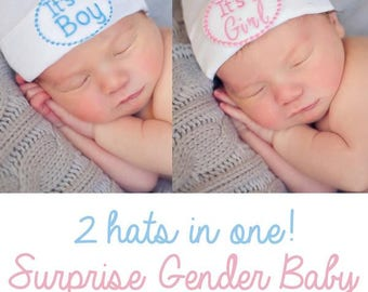 Gender Reveal Newborn Hat,It's a BOY hat, It's a GIRL hat, hospital hat, coming home from the hospital, gender reveal hat, boy hat, girl hat