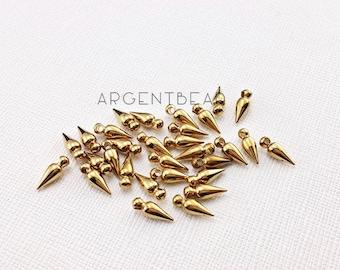 10 pcs RAW Brass Bullet Charm - Solid Raw Brass Bullet Charm -4x11x3.2mm AG93