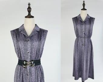 Vintage Dress, Upcycled Vintage Dress, Vintage Japanese Dress, Black Floral Print Notched Collar Sleeveless Violet Women Dress Size S-M
